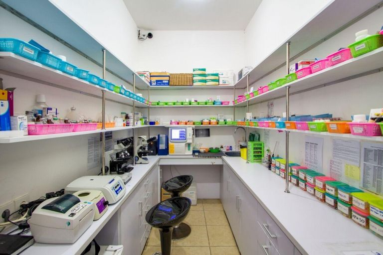 On site laboratory and pharmacy with medicines from Singapore and UK